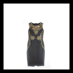 Black Privy Mini Dress with Gold Lace Overlay